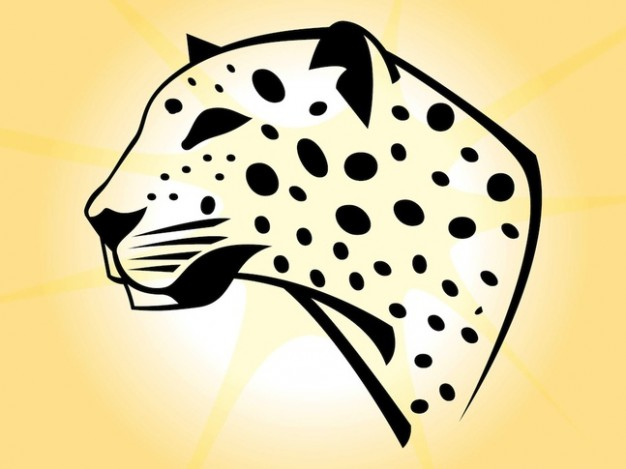 leopard head with black dots over yellow background