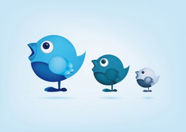 Little blue social networking birds with light blue background