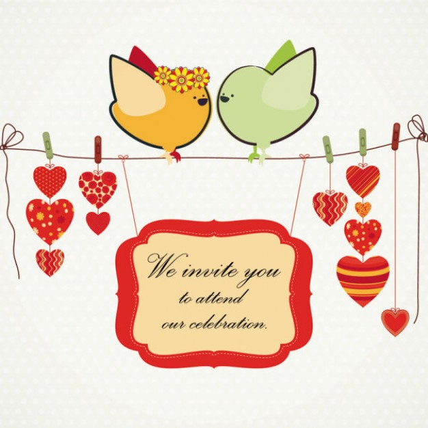 Love birds stopping at clothes stick illustrations including heart