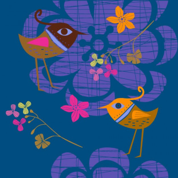 Lovely flowers and birds vector material painted by hand