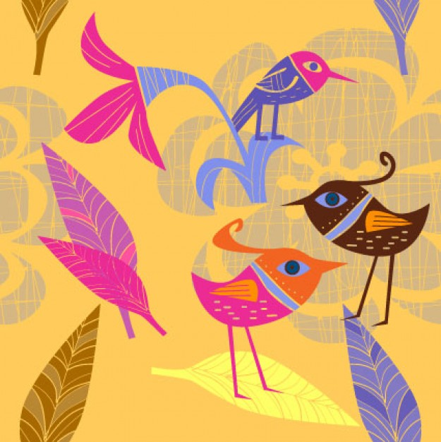 Lovely flowers and birds Vector painted by hand