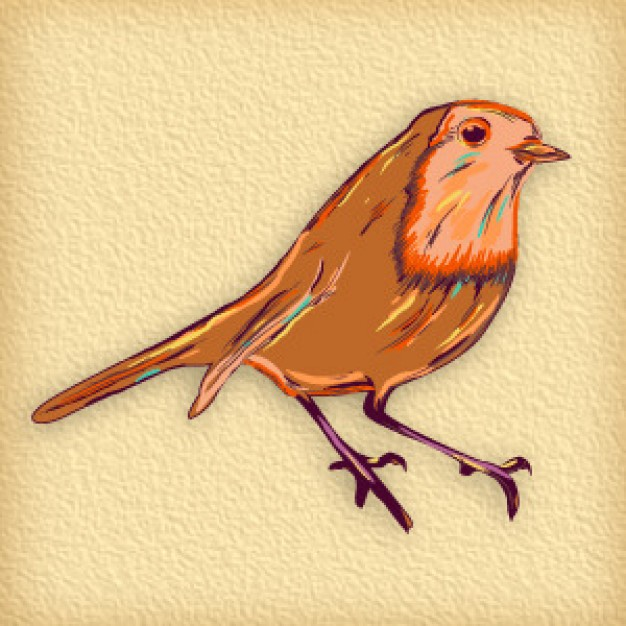 manualy bird doodle art with earth yellow background