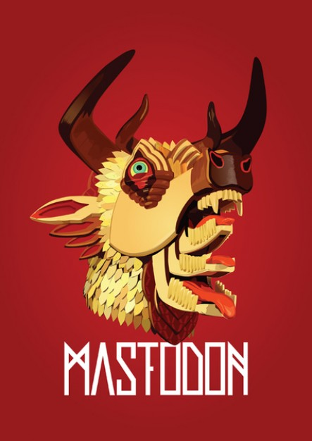 Mastodon of the hunter over red paper Vector