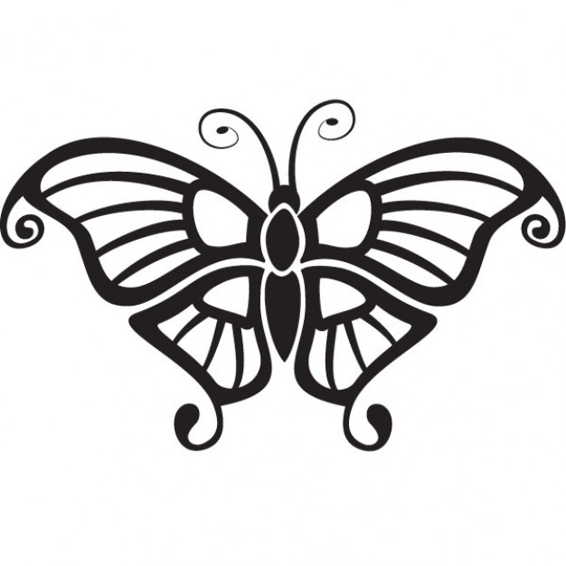 minimalist design of a butterfly top view without colors