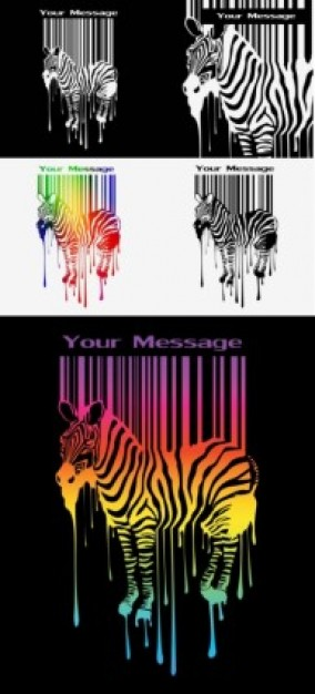 misc zebra and barcode free vector in color and white and black