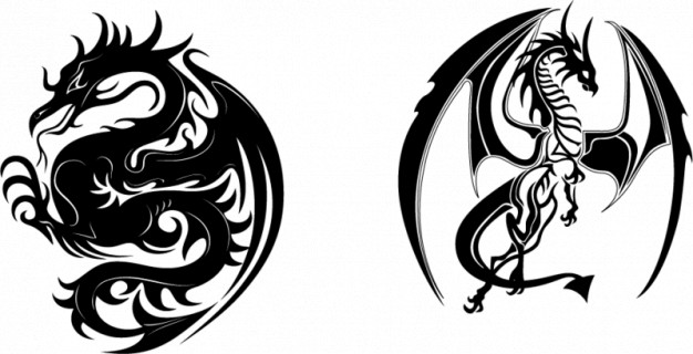 black ferocious Traditional dragons vectors