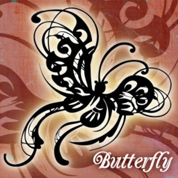 Modern Stylized Butterfly Curvy Ornamental Clip Art Design