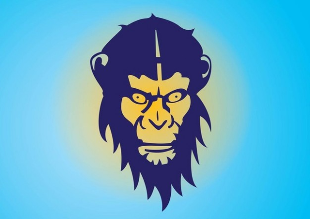 Monkey head with malicious expression over blue background