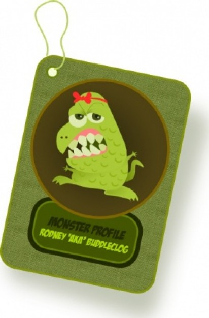 monster clip art card with green background