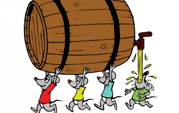 Mouses carry brown wine bucket Vector