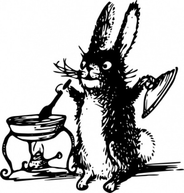 A Cooking Rabbit clip art with white background