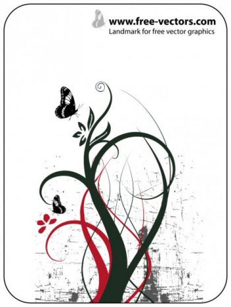Nature Ornaments Vector Design with swirls butterfly and white background