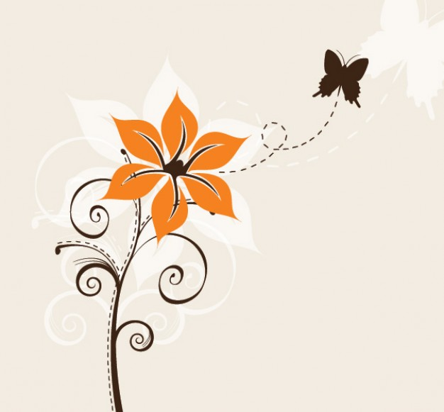one Flower and one Butterfly with pink background