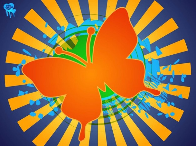 Orange butterfly on striped circle background