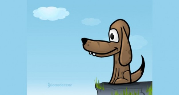 original Puppy dog illustrator vector with blue sky and cloud background