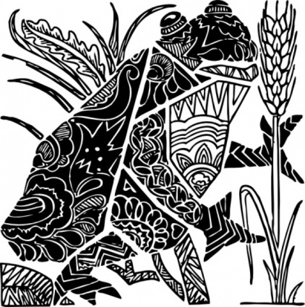 ornate frog standing at paddy clip art with White background