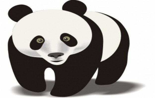 Panda walking clipart in front view
