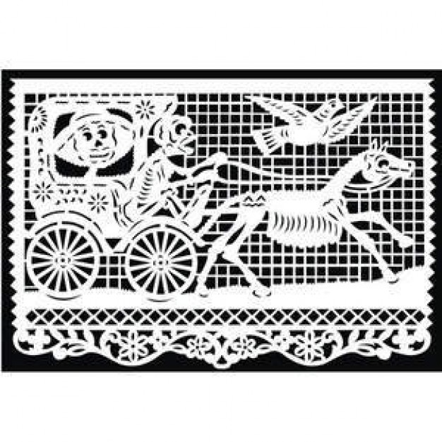 Papel Picado Mexican Paper Cut with skull and horse bird people