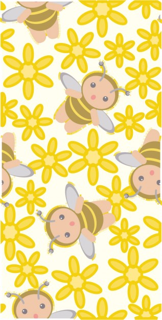 pattern material with Cute bee flower background