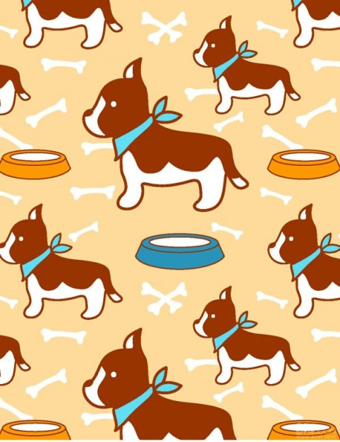 pattern vector  with Tile cute dogs and plates