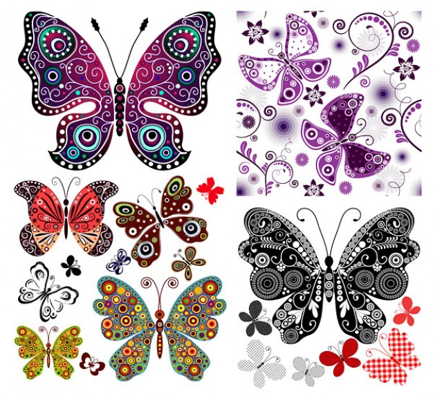 patterns set with ornamental smiley butterflies