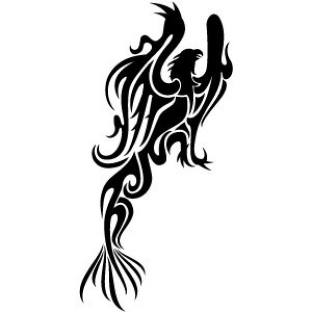 Phoenix Bird Vector in black and white