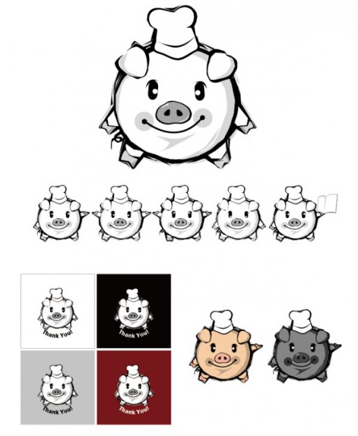 pig vector material in Lovely hand-painted style