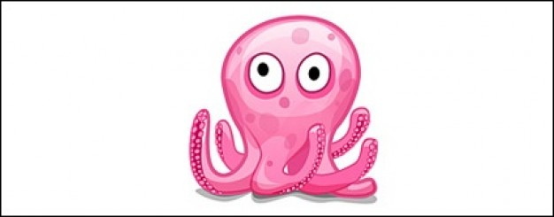 pink octopus with white background