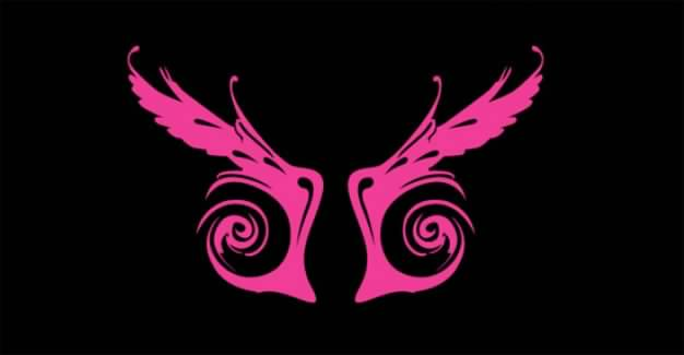 pink Wings Vector over dark background