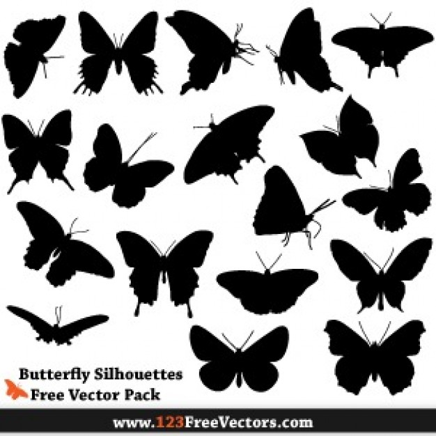 a set of black Silhouette Brushes butterfly vector