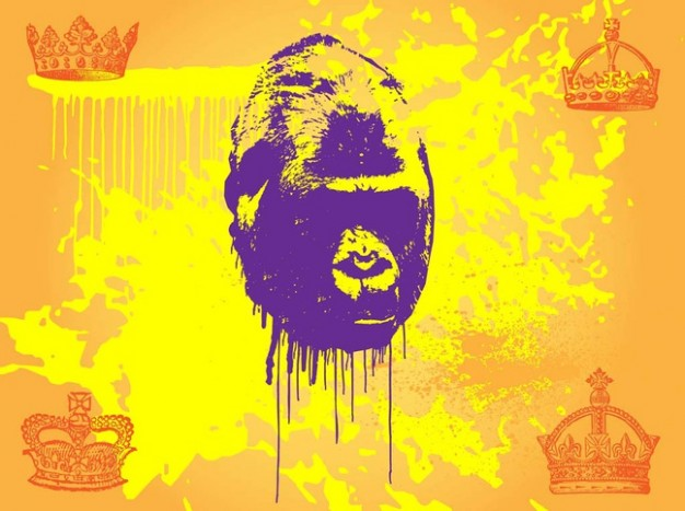 Primate orangutan with yellow splatters and Crowns background