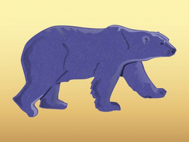 Purple bear walking in side view animal sticker