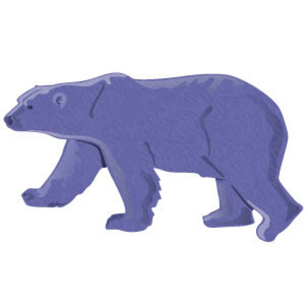 purple Polar Bear walking side view Vector