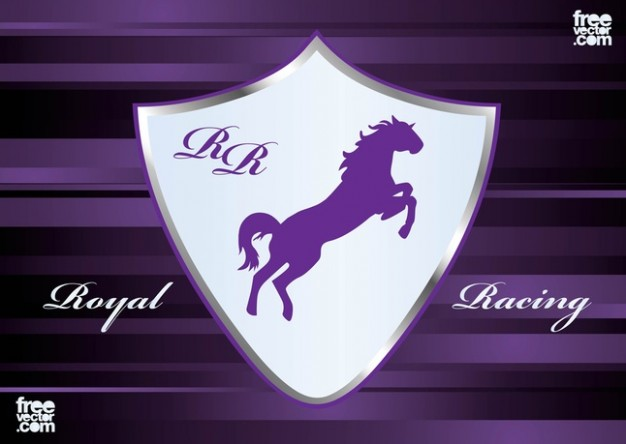 Racing horse in Emblem Vector with purple background