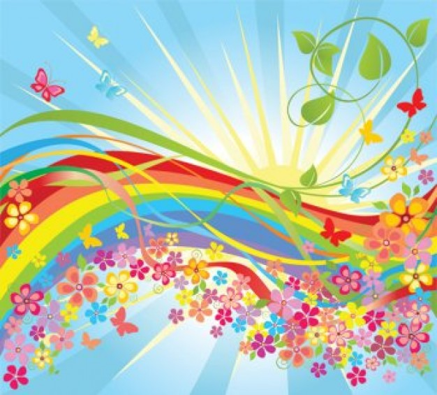 rainbow rounded by Colorful flower in the sunshine world