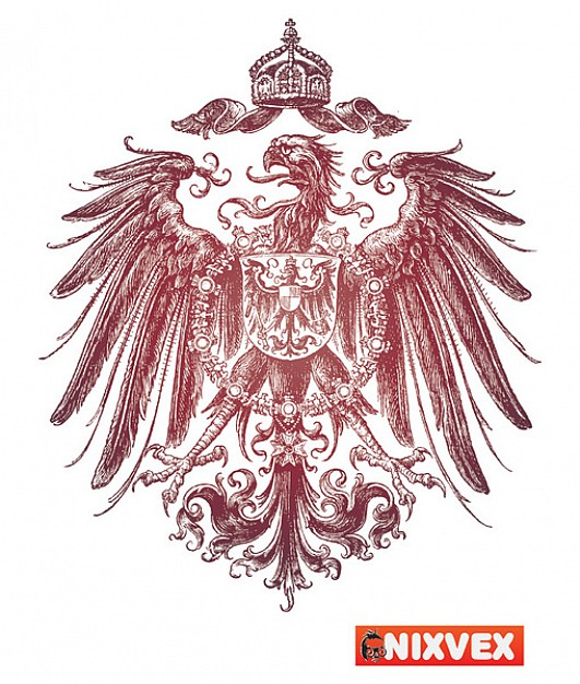 red Heraldic Free Vector with eagle and crown
