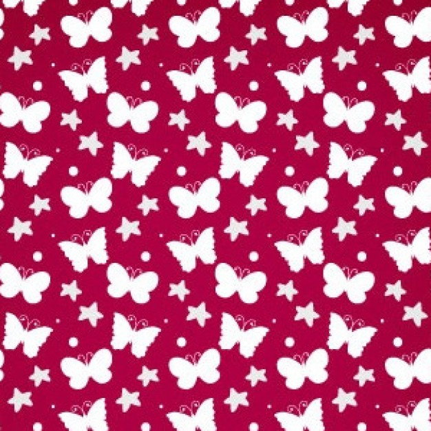 red Pattern with white Summer Butterfly Free Vector