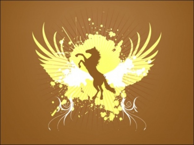 Abstract Horse on like eagle background