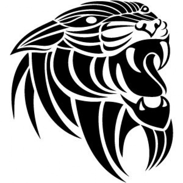 roaring Panthera head Tribal Vector Image in thick lines