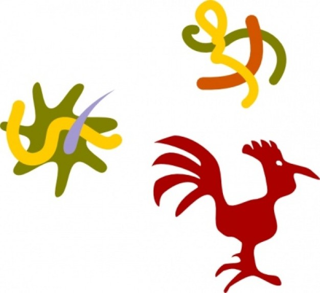 rooster star worms clip art in colour