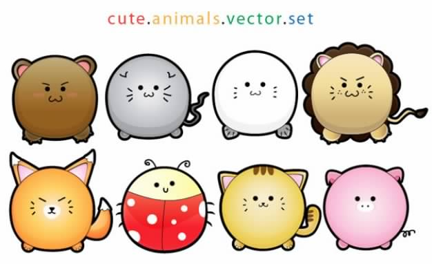 rounded animals cartoons like lion pig cat