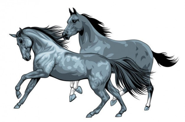 running Horse pair clipart vector material | download Free Animal ...