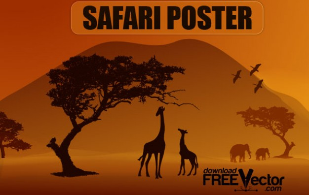 Savannah poster vector with giraffe family eating tree leaf over sunset light
