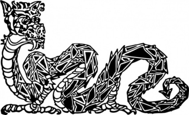 scaly dragon clip art with white background