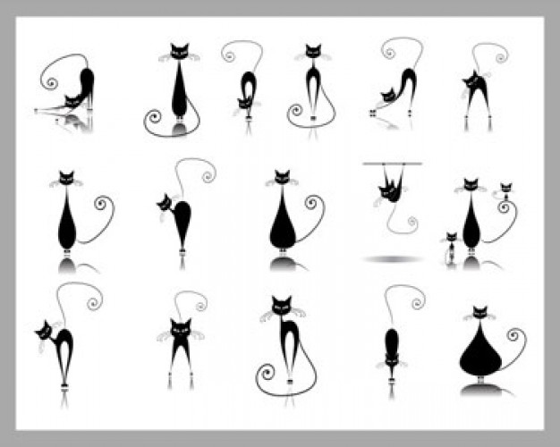 Elegance black cat silhouette collections Vector Illustratio