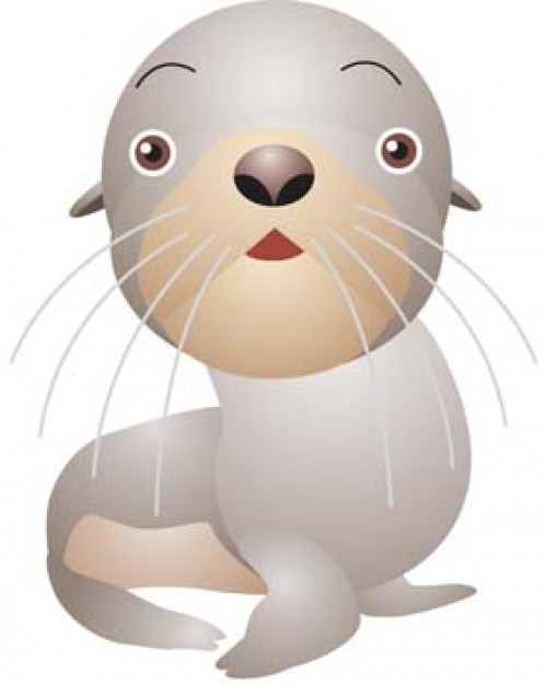 seals looking at you clip art with White background