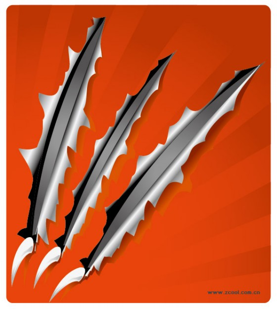 Sharp claws over red paper vector material