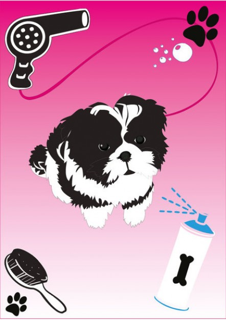 shih tzu puppy dog vector arounded with footprint blower