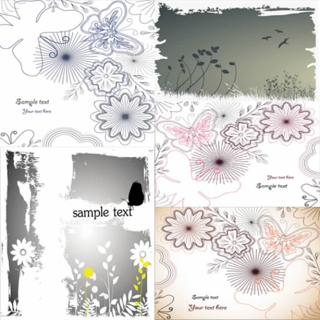 silhouettes with butterflies and flowers outlines