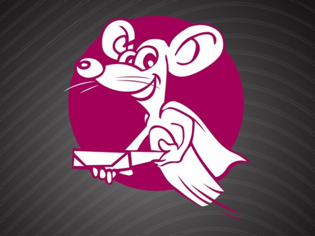 Smiling mouse cartoon character in pink circle logo vector